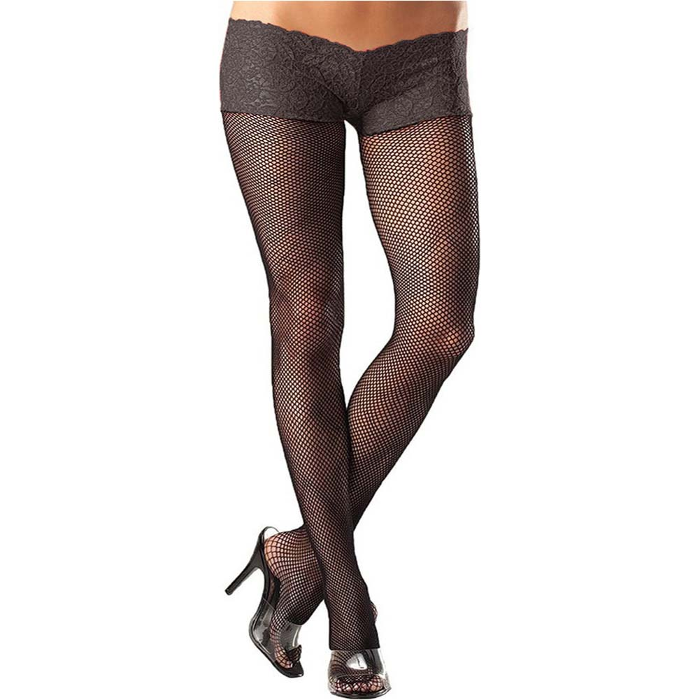 Be Wicked Fishnet Pantyhose with Lace Shorts Plus Size Black - View #2