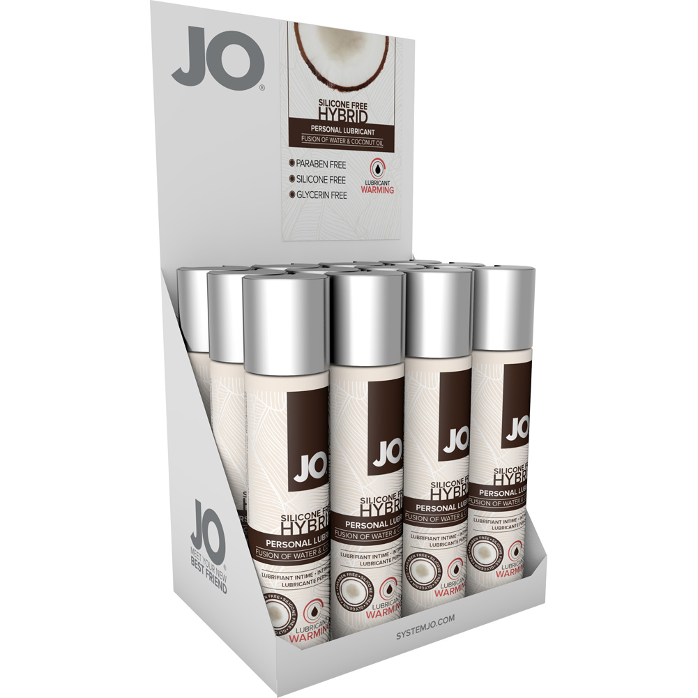 JO Silicone Free Hybrid Lubricant with Coconut Warming 1 Fl. Oz. 12 Pieces Display Box - View #2