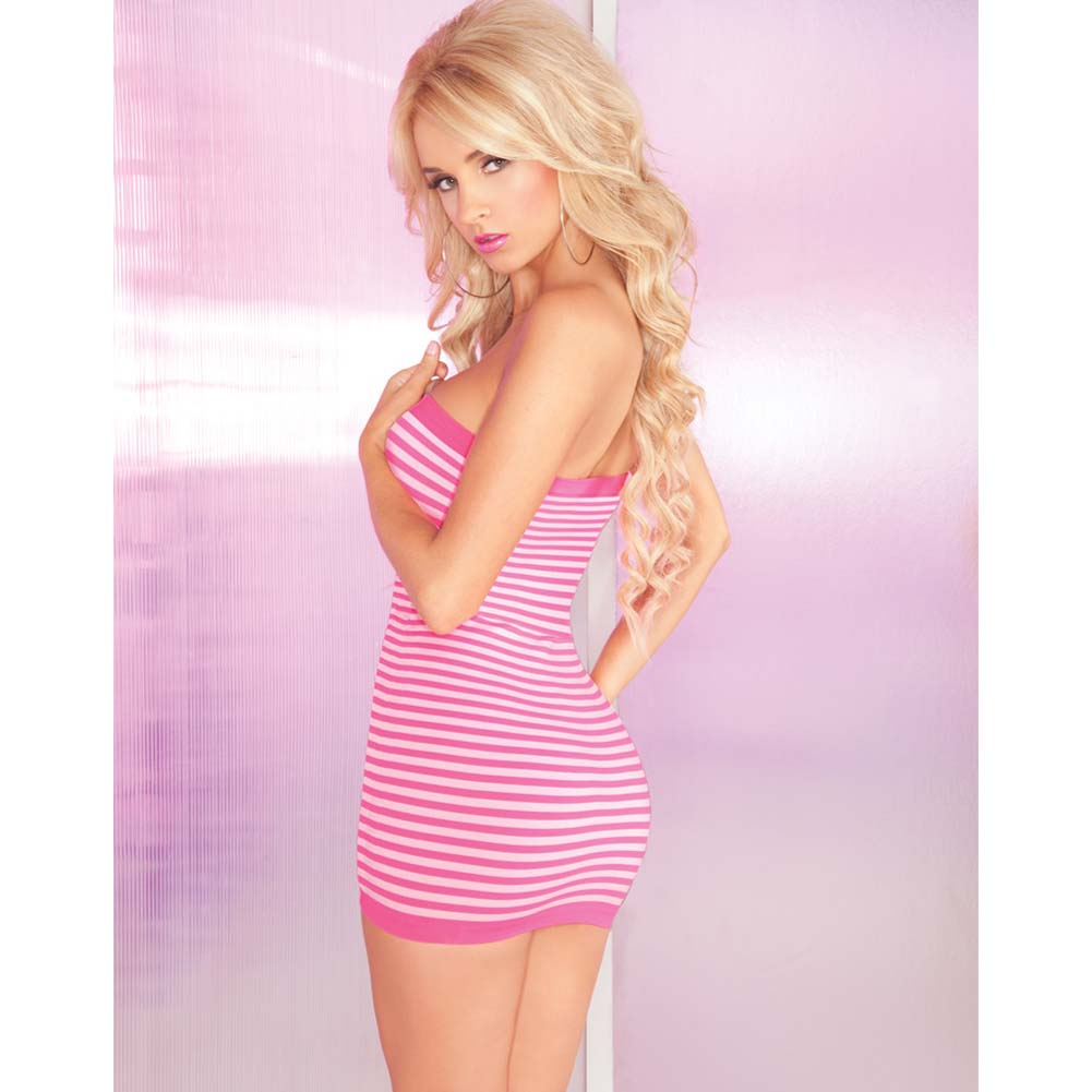 Pink Lipstick Superstripes Tube Dress One Size Pink - View #2