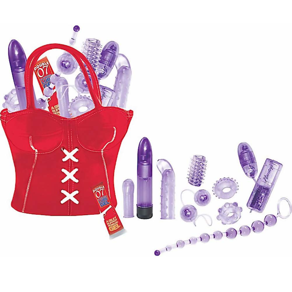 Party Girl Toys in the Bag 11 Piece Romantic Sex Kit Hand Bag Red - View #2