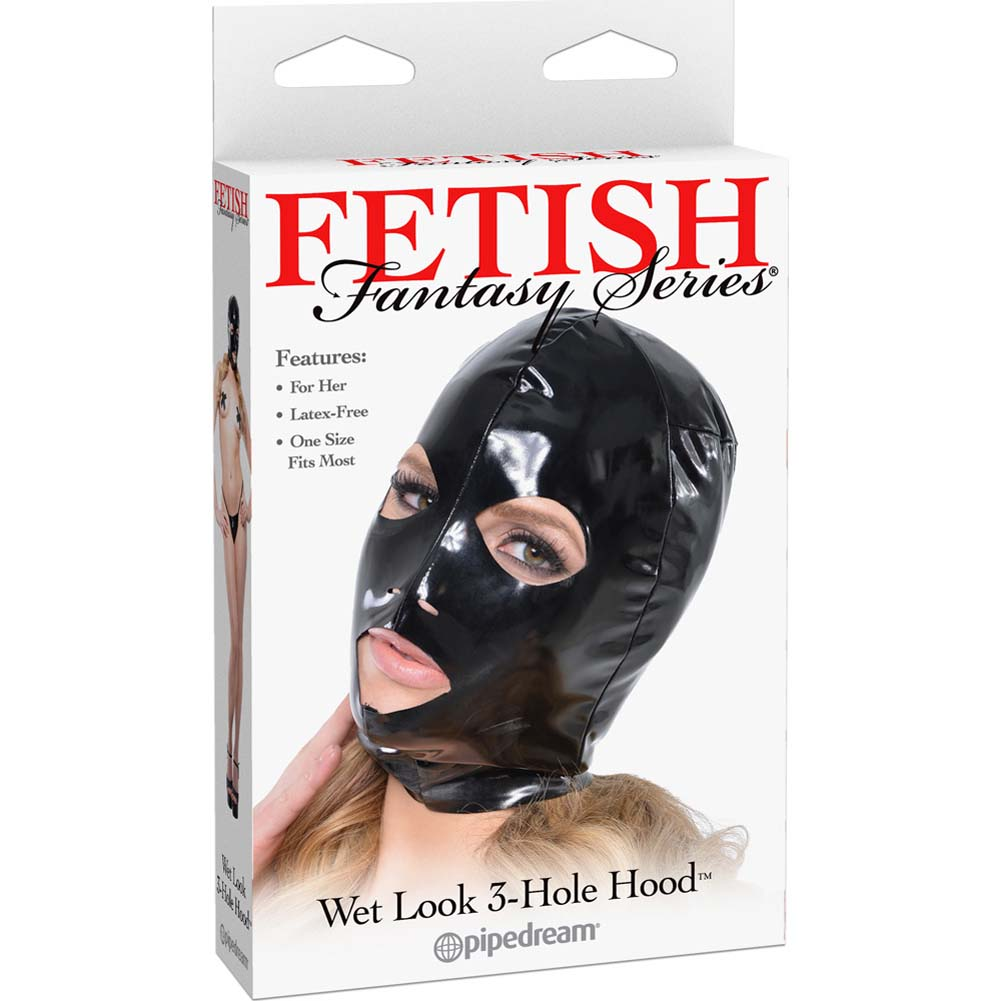 Fetish Fantasy Series Wet Look 3-Hole Hood For Her Black - View #1