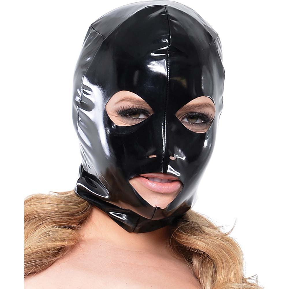 Fetish Fantasy Series Wet Look 3-Hole Hood For Her Black - View #3