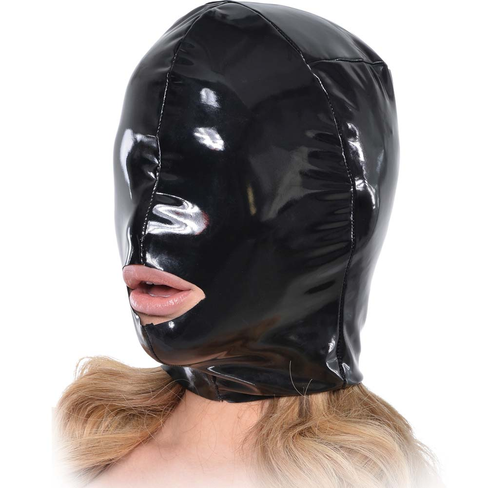 Fetish Fantasy Series Wet Look Open-Mouth Hood For Her Black - View #2
