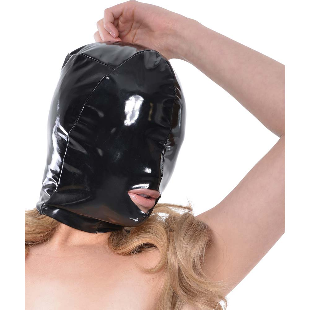 Fetish Fantasy Series Wet Look Open-Mouth Hood For Her Black - View #4