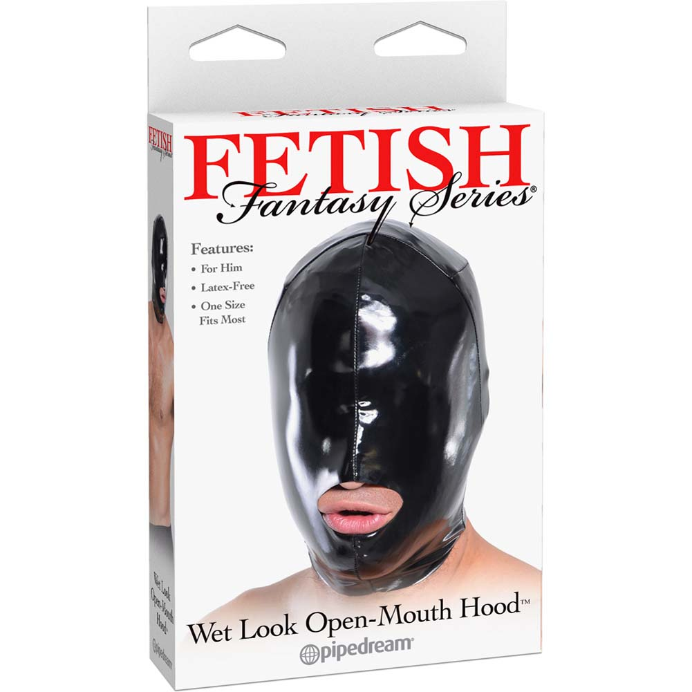 Fetish Fantasy Series Wet Look Open-Mouth Hood For Him Black - View #1