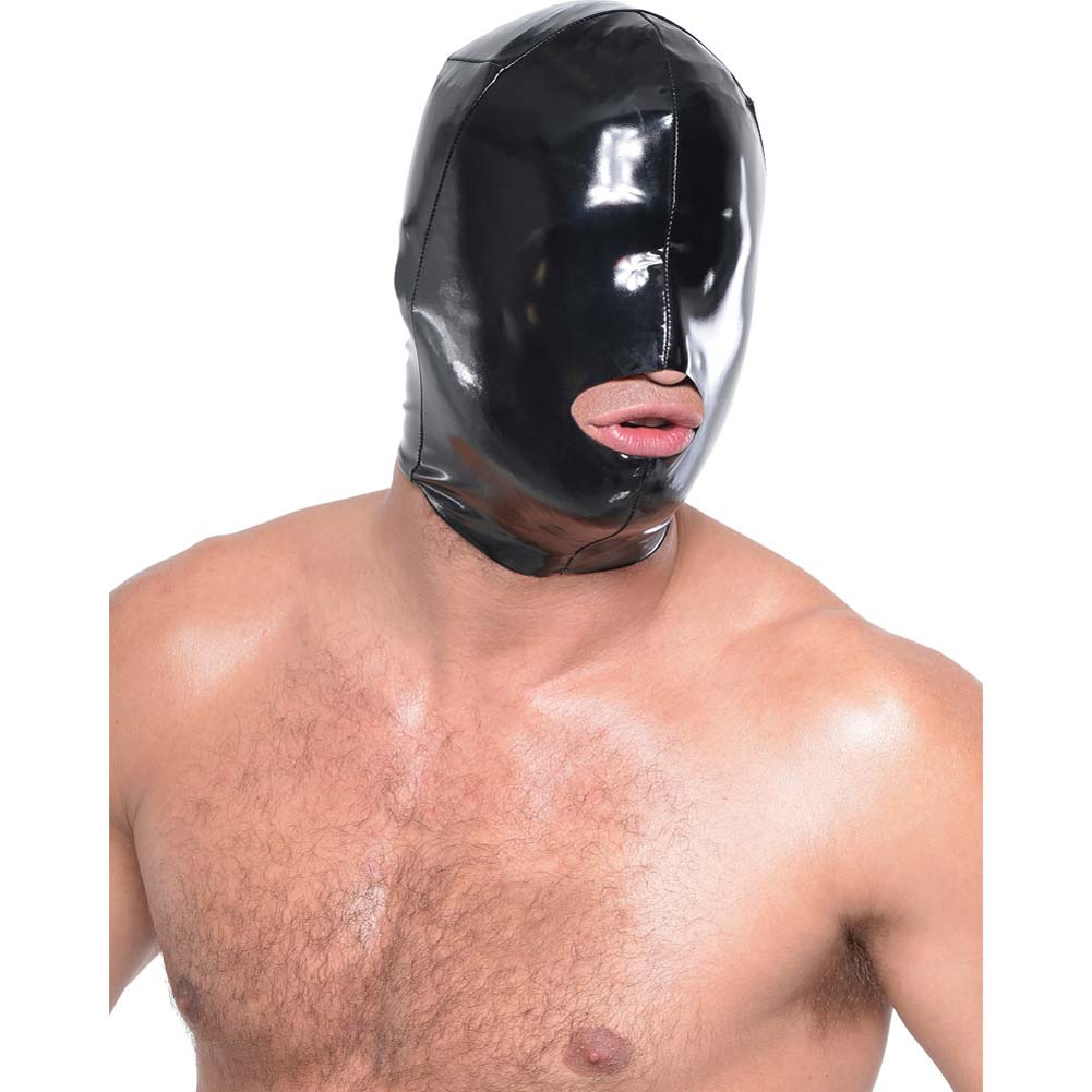 Fetish Fantasy Series Wet Look Open-Mouth Hood For Him Black - View #3