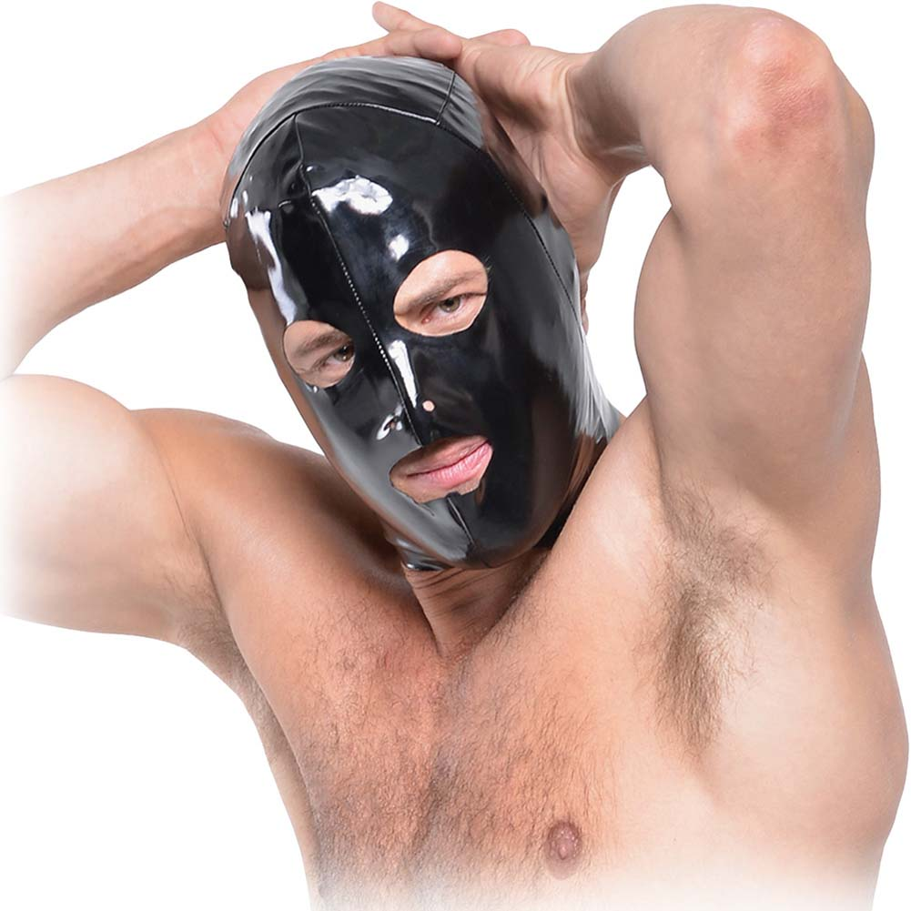 Fetish Fantasy Series Wet Look 3-Hole Hood For Him Black - View #2