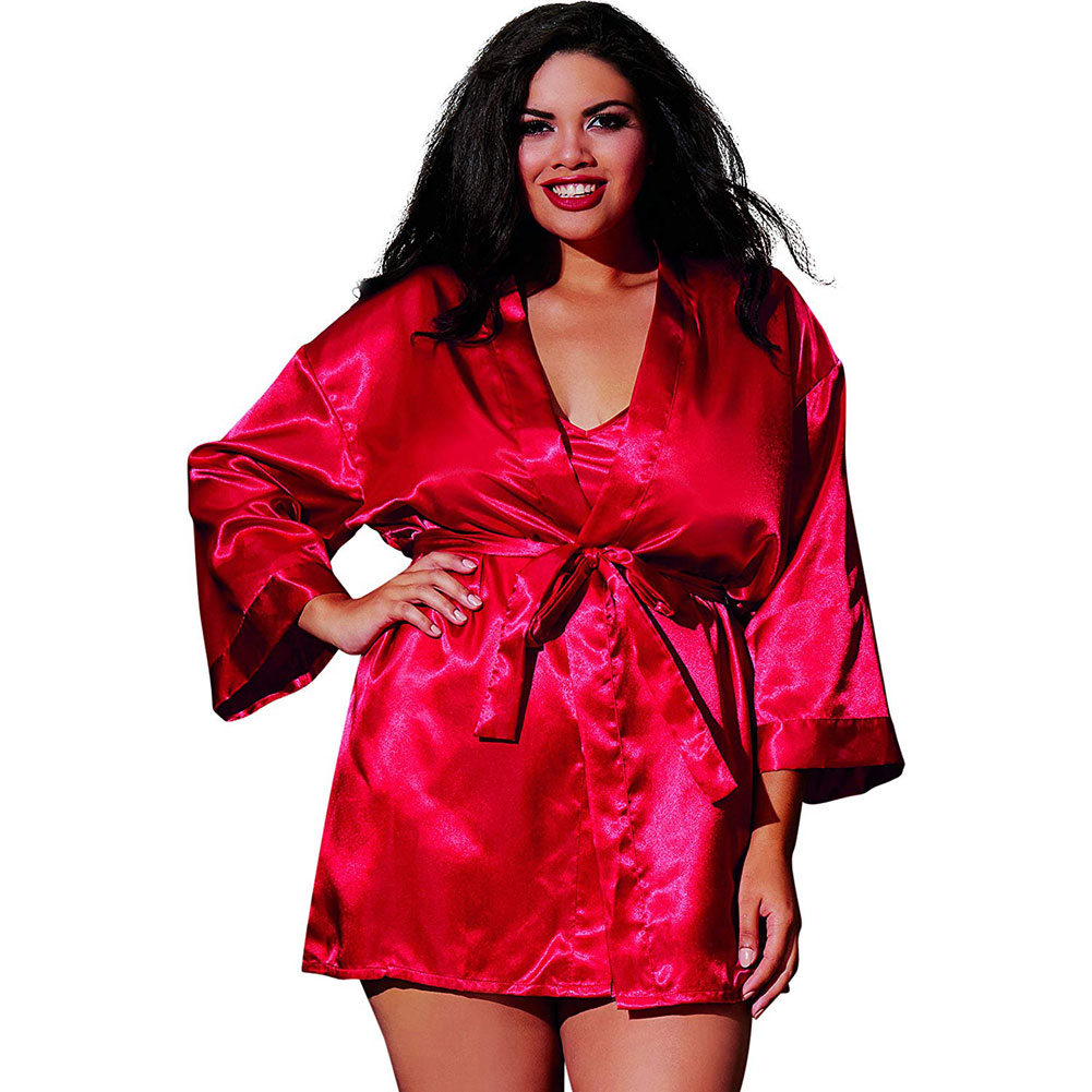 Dreamgirl Babydoll and Matching Robe with Padded Hanger 1X/2X Red - View #1