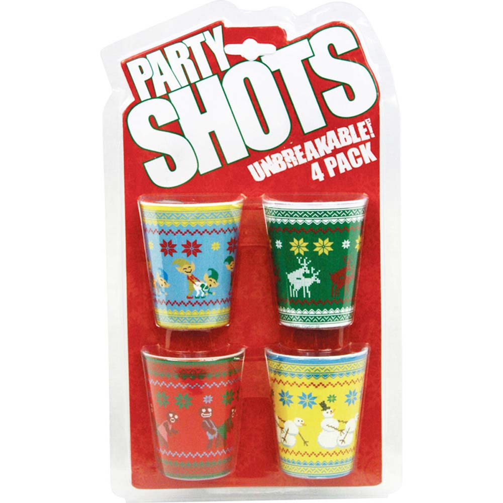 Christmas Naughty Characters Shot Glass Set 4 Pieces - View #1