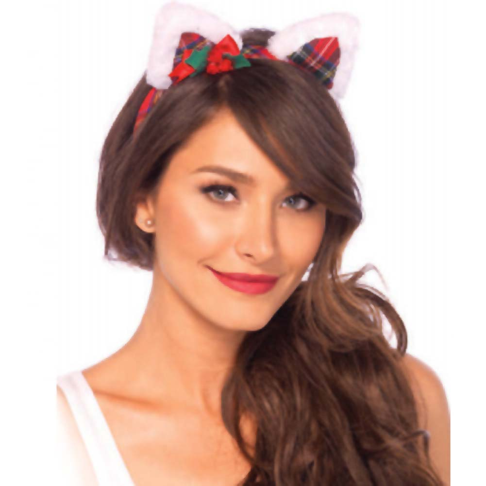 Christmas Kitty Ear Headband With Mini Holly Berry Bow - View #1