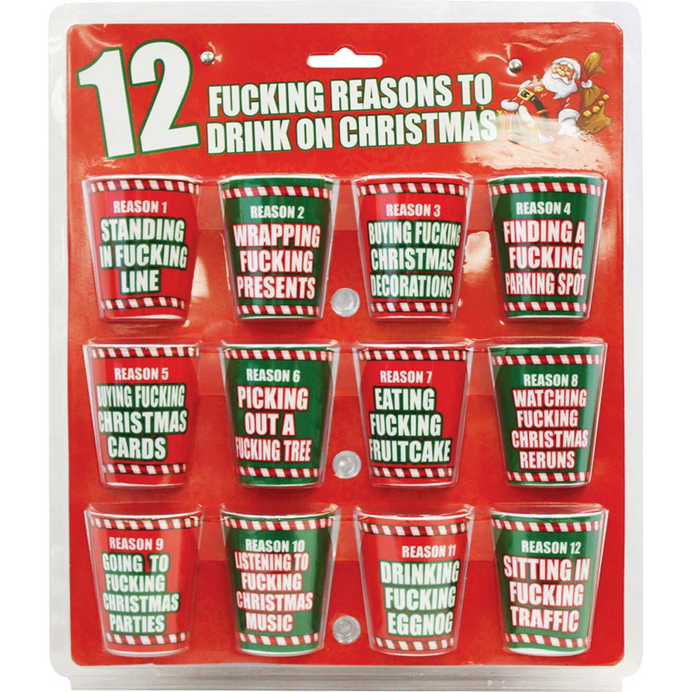 12 Fucking Reasons To Drink On Christmas 12 Shot Glasses - View #1
