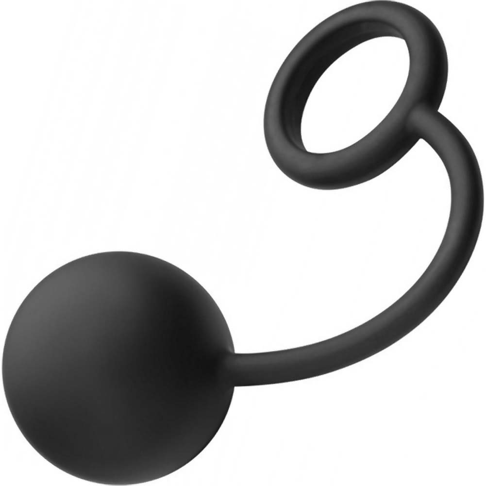 "Tom of Finland Silicone Cock Ring with Heavy Anal Ball 8.5"" Black - View #2"