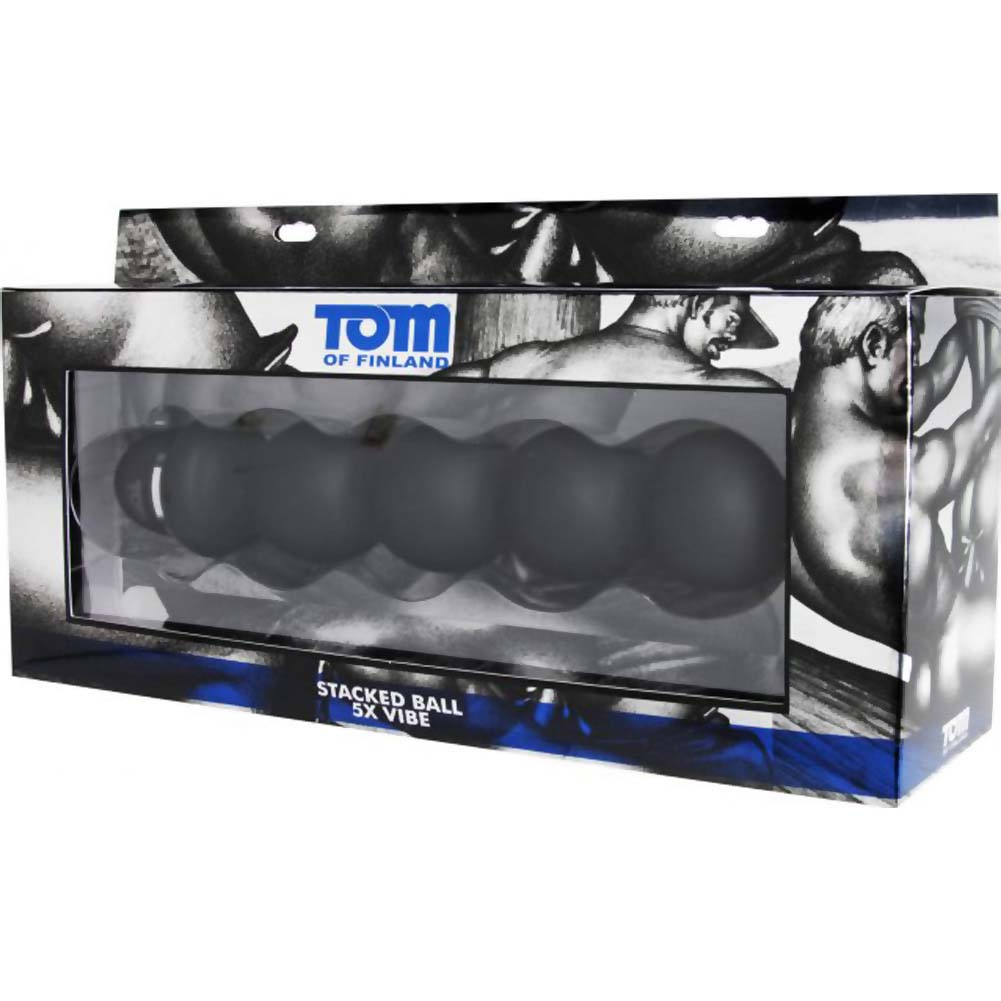 "Tom of Finland Vibrating Anal Bead Wand 9.5"" Black - View #1"