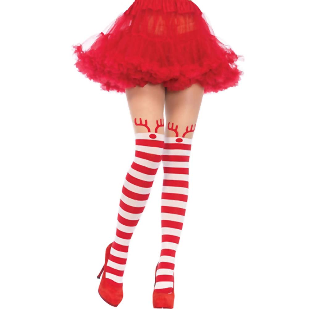 Leg Avenue Reindeer Pantyhose Sexy Lingerie One Size Cherry Red/White - View #1