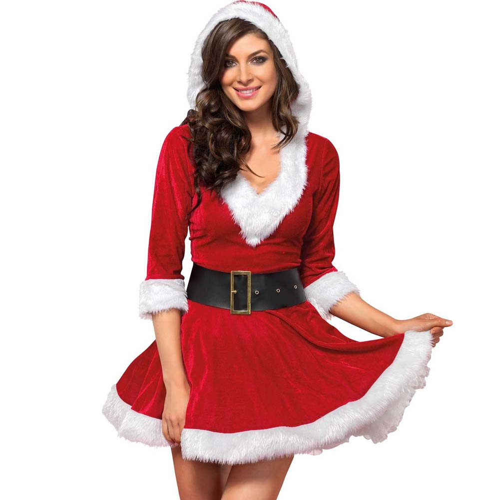 Mrs. Claus Costume Set Velvet Hooded Dress and Belt Medium/Large Red/White - View #1