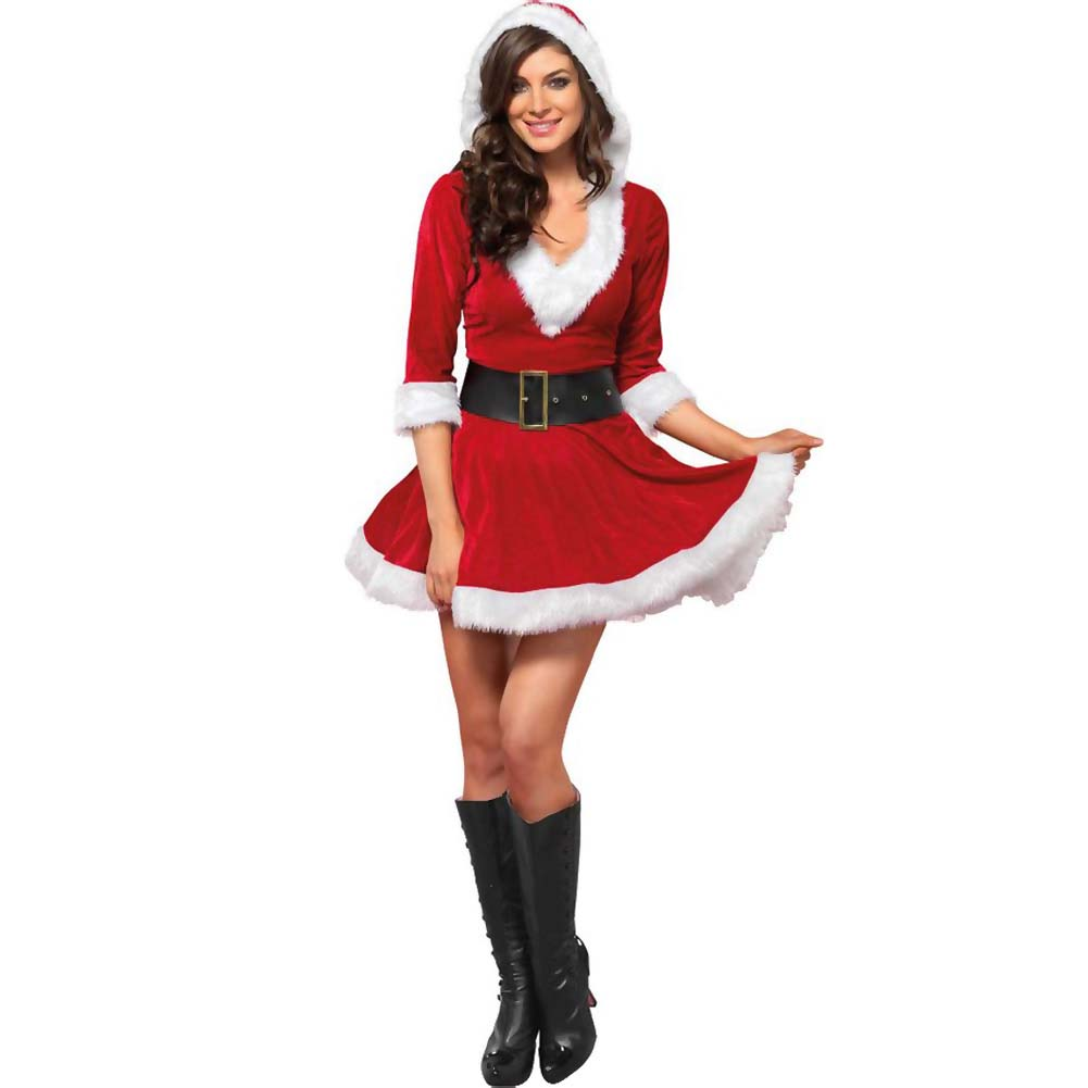 Mrs. Claus Costume Set Velvet Hooded Dress and Belt XLarge Red/White - View #2