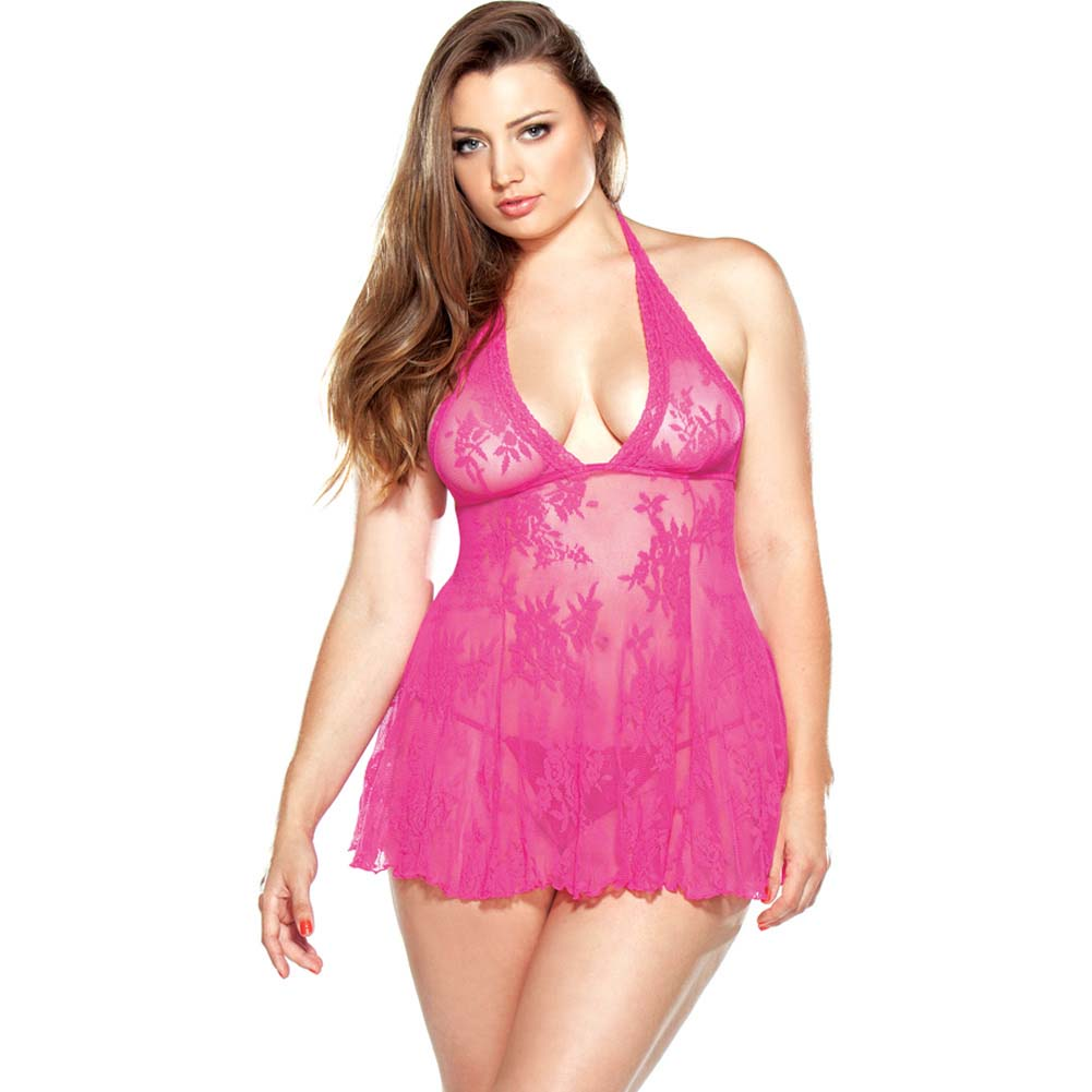 Fantasy Lingerie Stretch Lace Chemise and Matching G-String Plus Size 1X/2X Pink - View #1