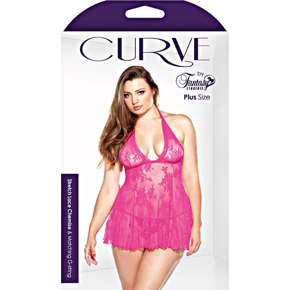 Fantasy Lingerie Stretch Lace Chemise and Matching G-String Plus Size 1X/2X Pink - View #3