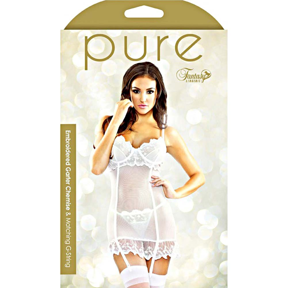 Fantasy Lingerie Pure Embroidered Garter Chemise and G-String Set Medium/Large White - View #3