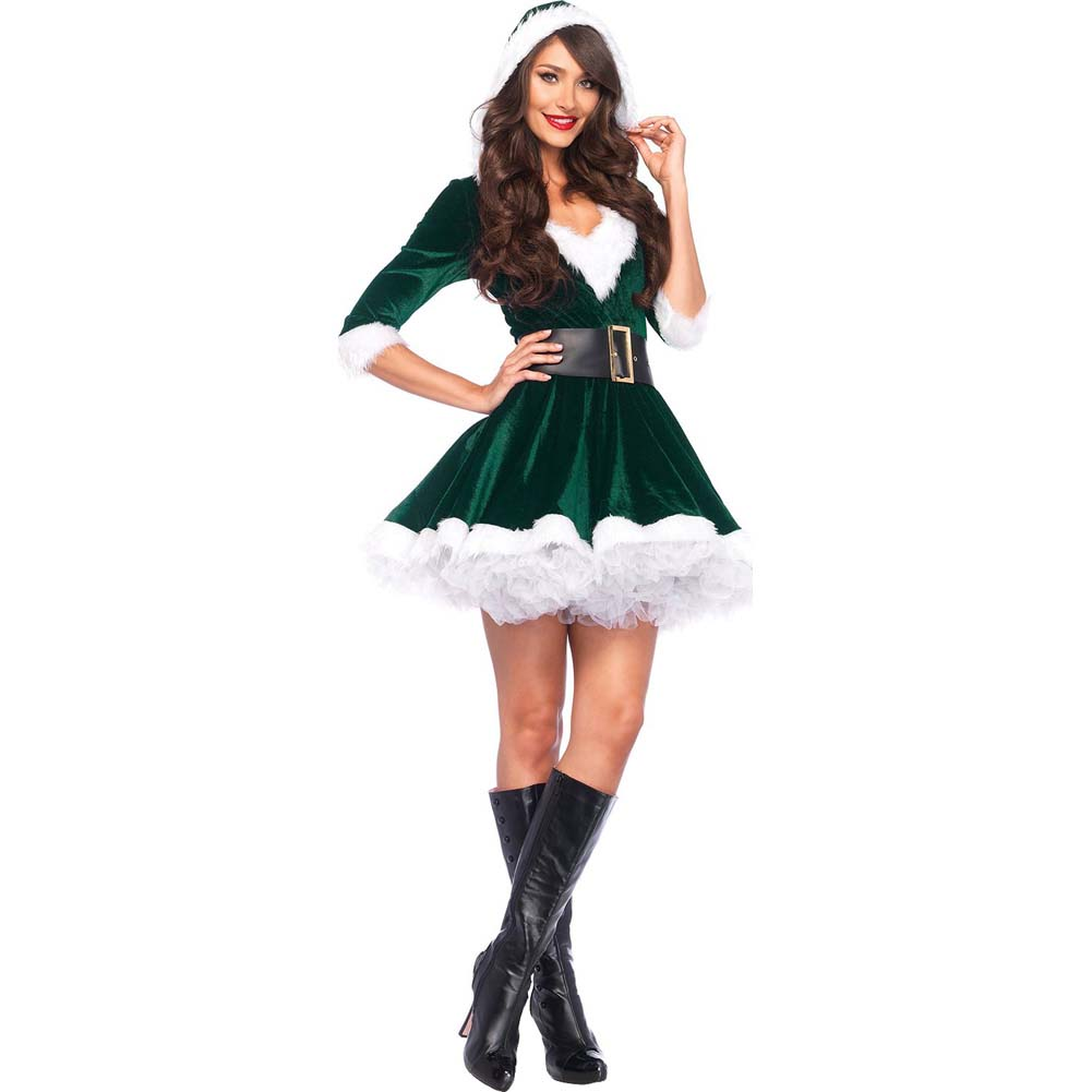 Mrs. Claus Costume Set Velvet Hooded Dress and Belt Medium/Large Green/White - View #2