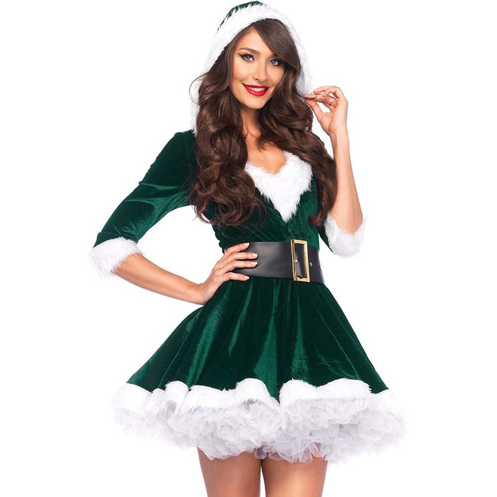 Mrs. Claus Costume Set Velvet Hooded Dress and Belt XLarge Green/White - View #1