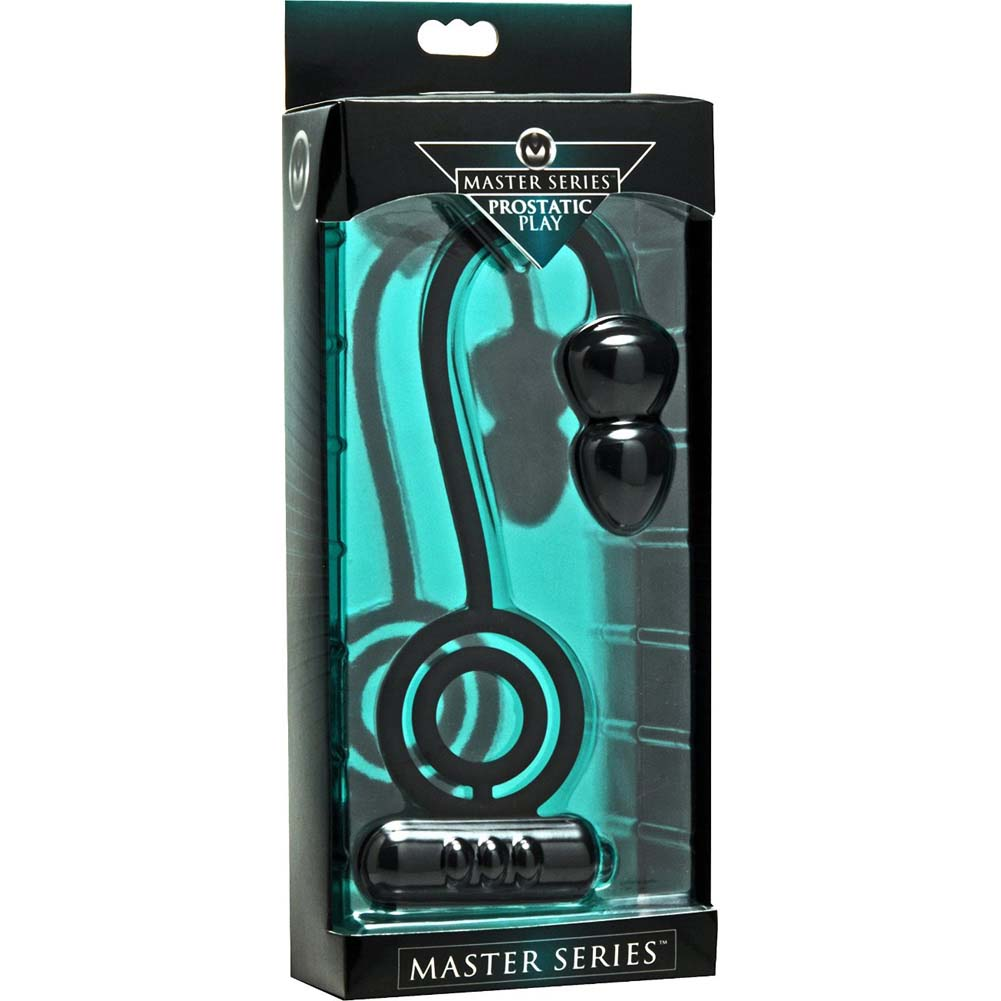 Master Series Prostatic Play Voyager 1 Vibrating Cock Ring and Anal Plug Black - View #3