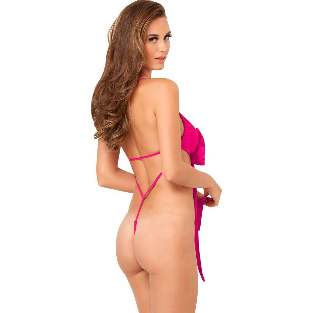 Rene Rofe Unwrap Me One Piece Satin Bow Teddy Small/Medium Hot Pink - View #2
