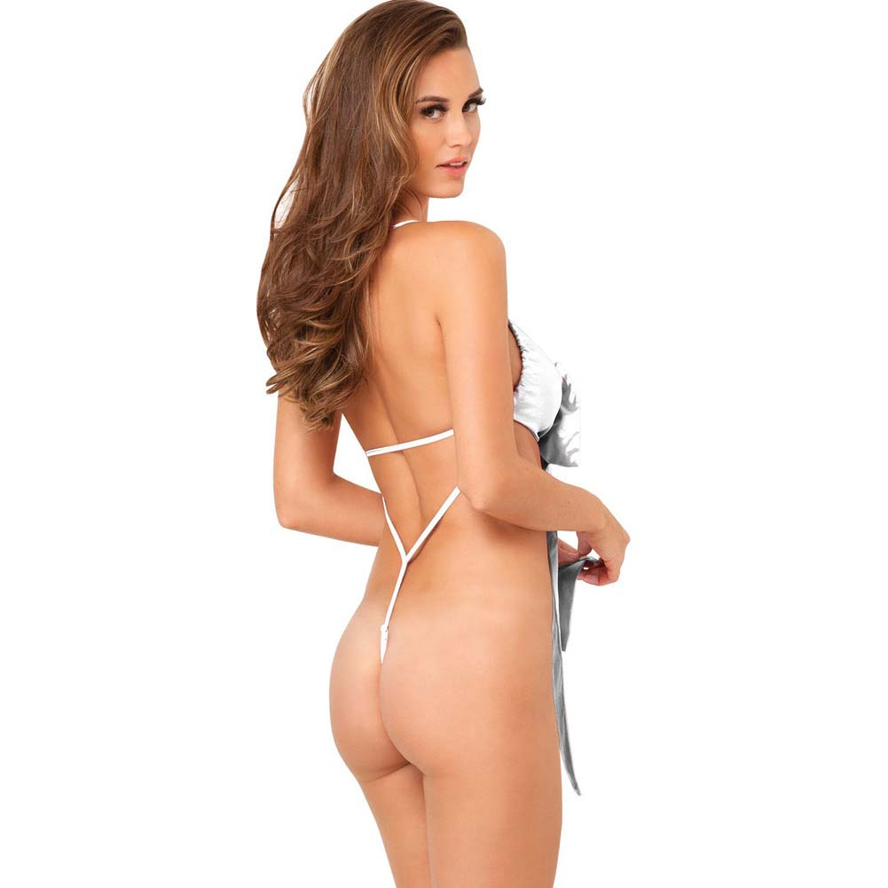 Rene Rofe Unwrap Me One-Piece Satin Bow Teddy Small/Medium Classic White - View #2