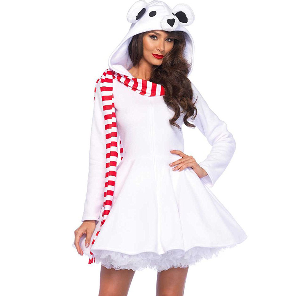 Leg Avenue Hooded Polar Bear Zippered Dress Lingerie Small Snow White - View #1