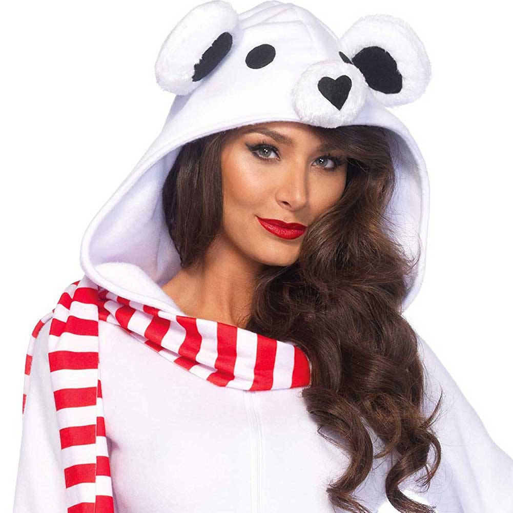 Cozy Polar Bear Zipper Front Dress with Bear Hood and Striped Scarf Small White - View #3