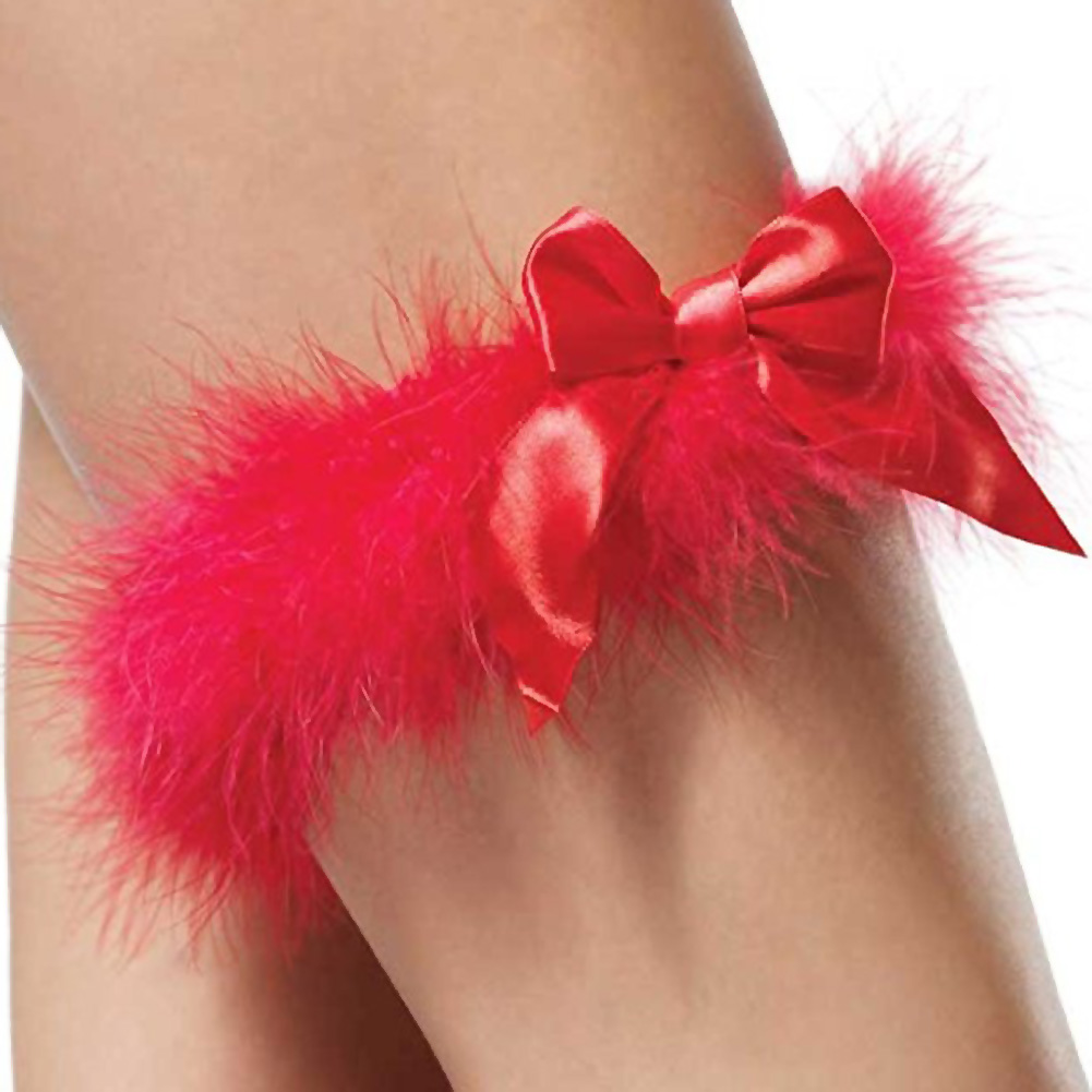 Sexy Marabou Garter with Satin Bow One Size Red - View #2