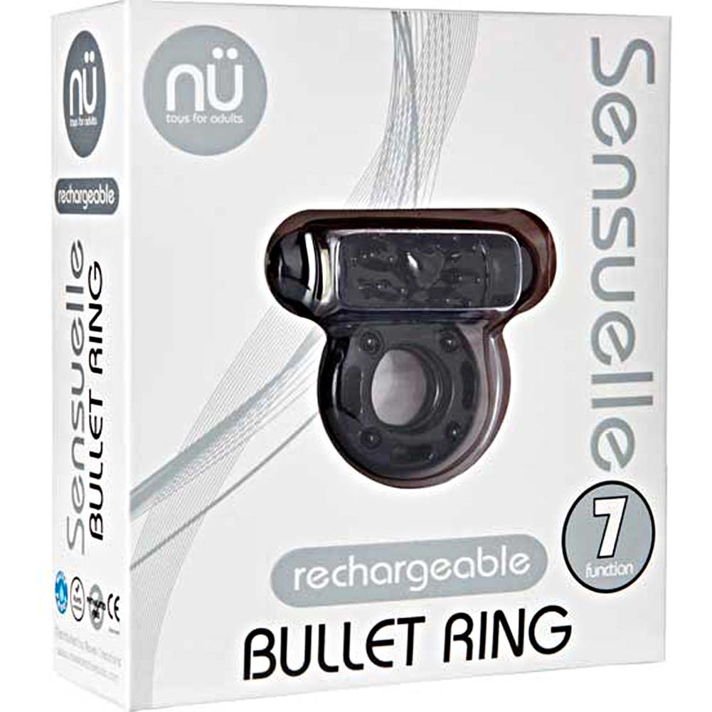 Nu Sensuelle Bullet Ring 7 Function Rechargeable Vibrating Cockring Black - View #1
