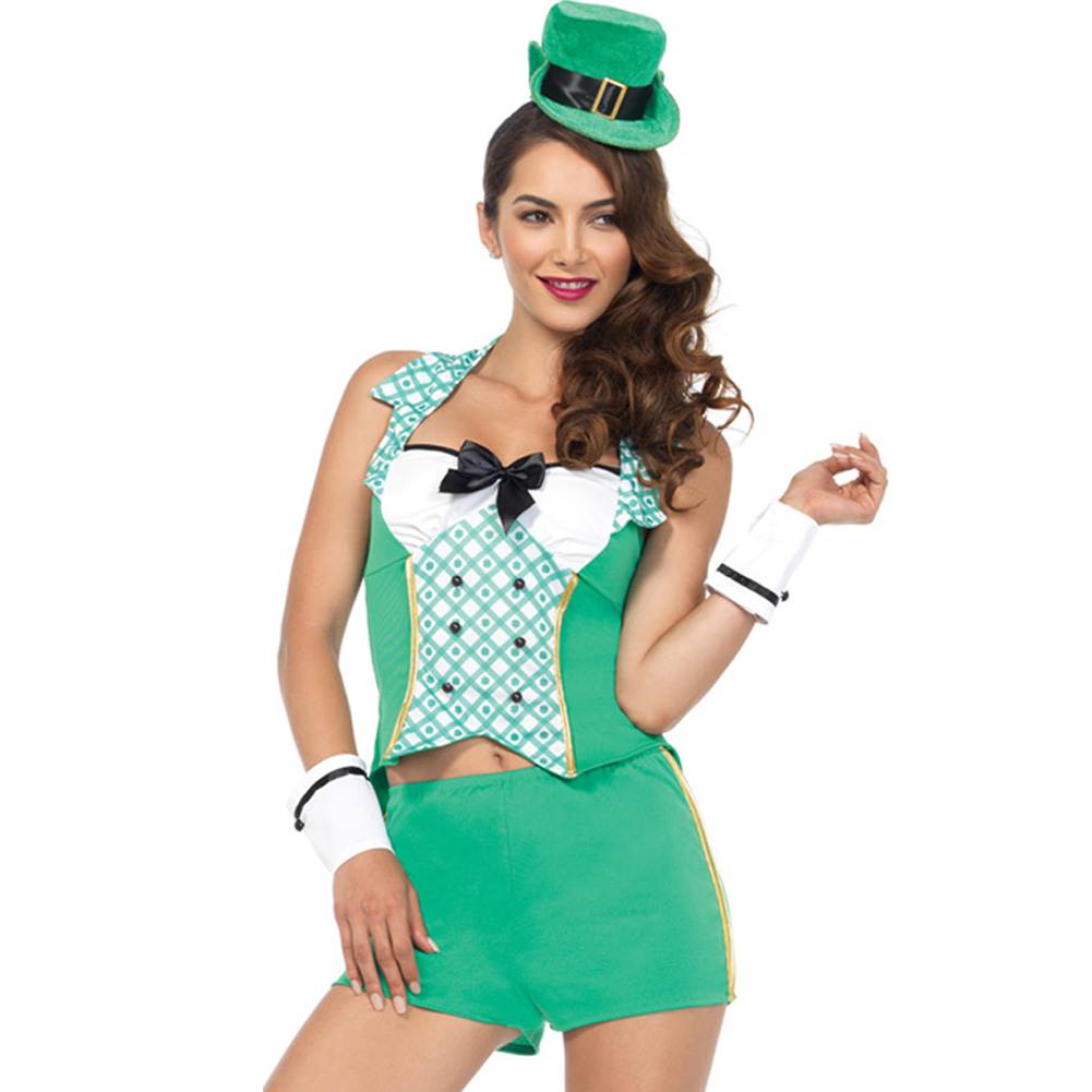 Darlin Leprechaun 4 Piece Costume Medium/Large Green - View #1