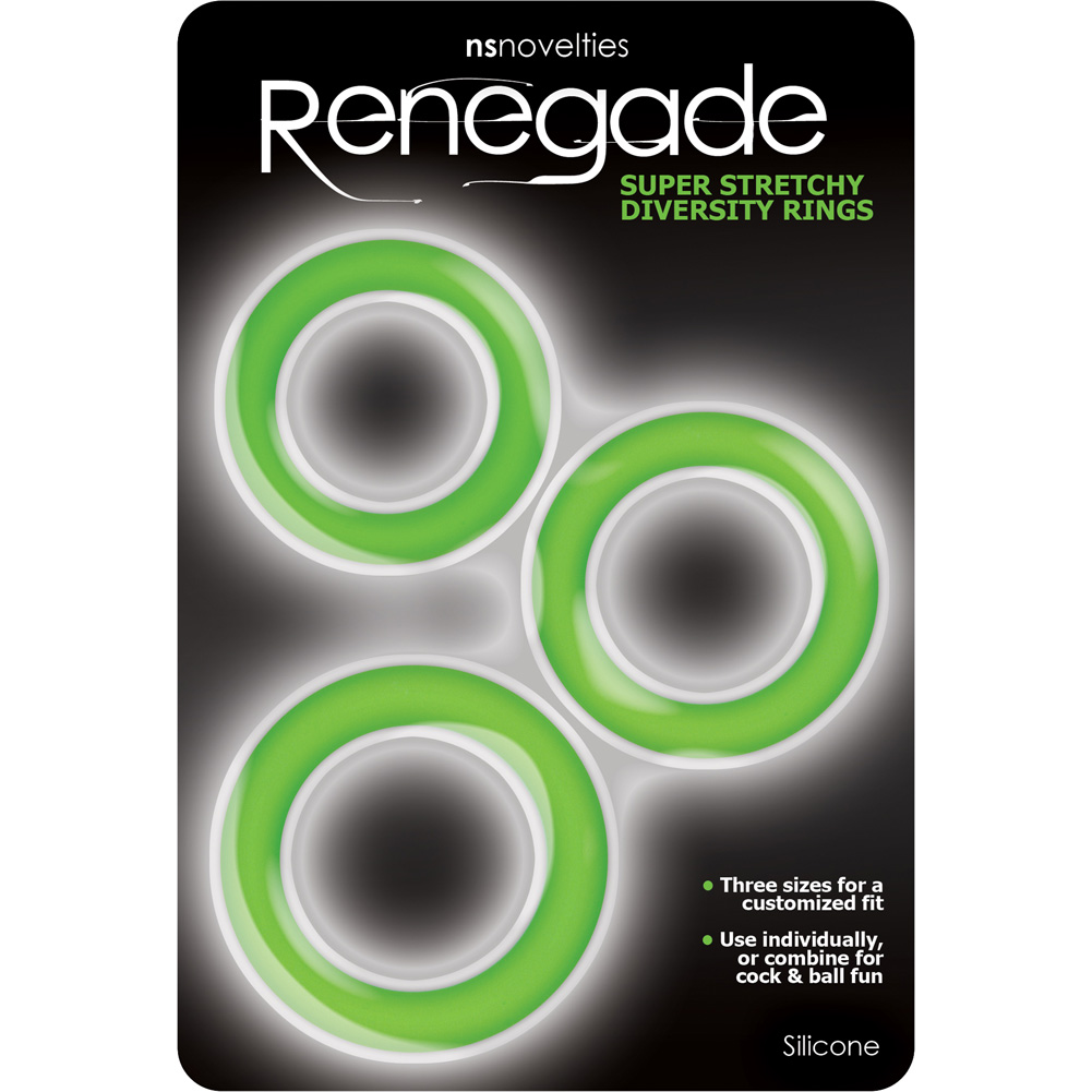 Renegade Silicone Diversity Rings for Men Neon Green Set of 3 - View #1