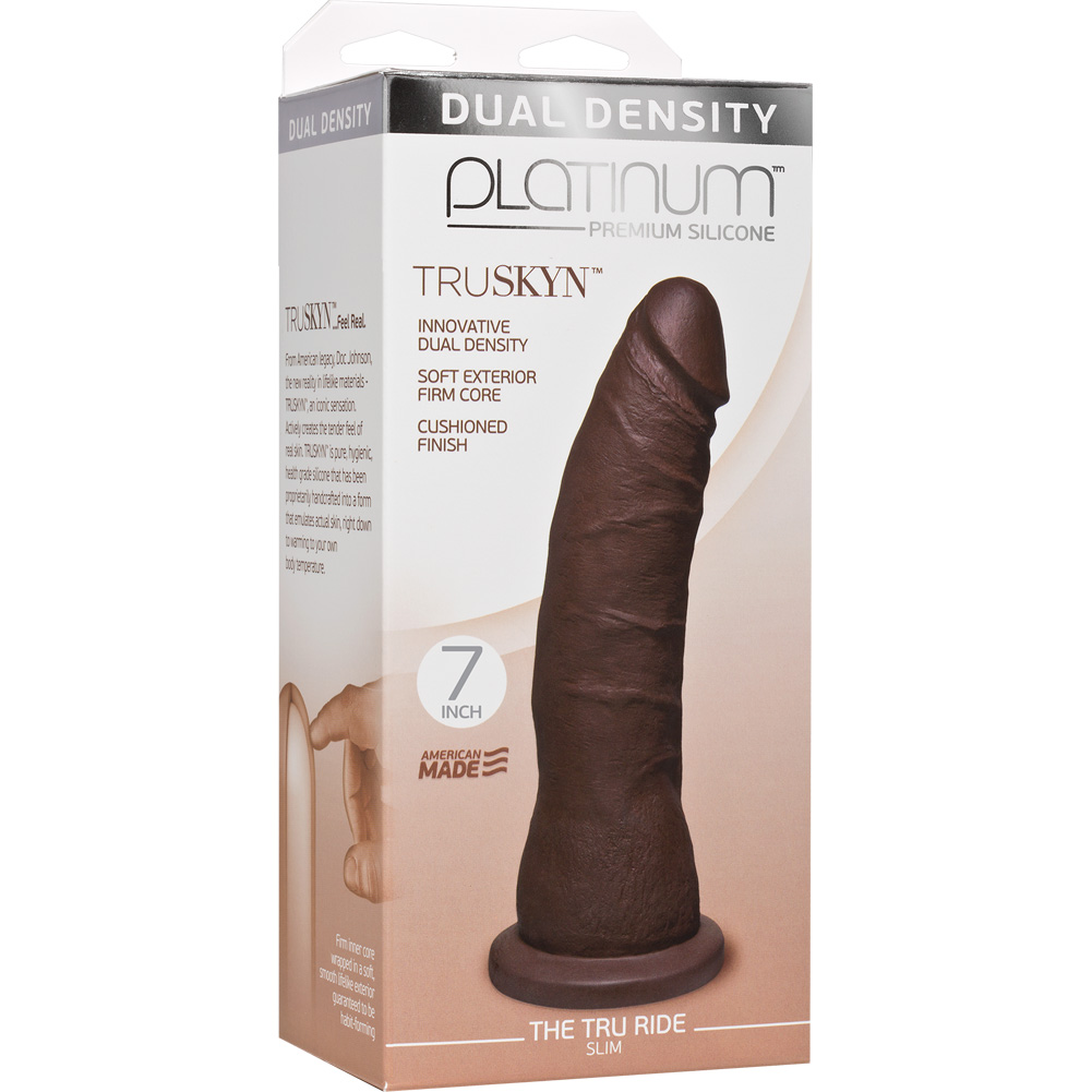 "Doc Johnson Platinum Truskyn Tru Ride Slim Dildo 7.5"" Chocolate - View #1"