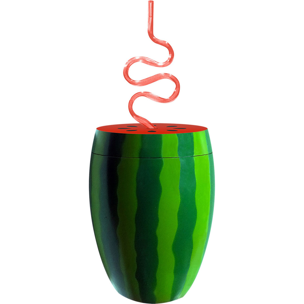 Watermelon Drinking Cup with Straw Green/Pink 24 Fl. Oz. - View #1
