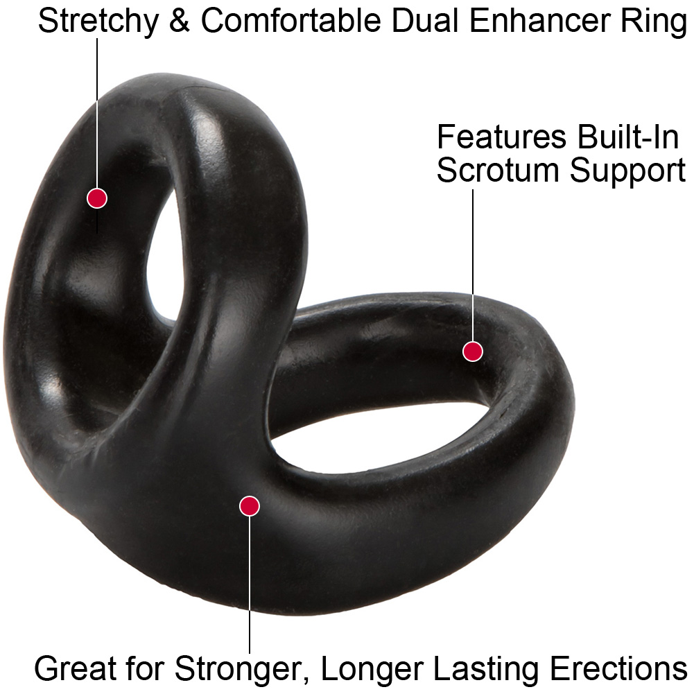 COLT by CalExotics Snug Tugger Dual Support Cock Ring Black - View #1