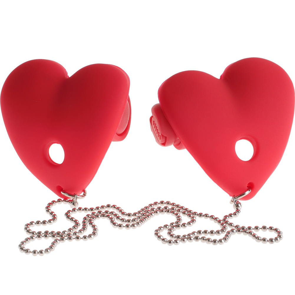 Fetish Fantasy Series Vibrating Heart Pasties Red - View #2