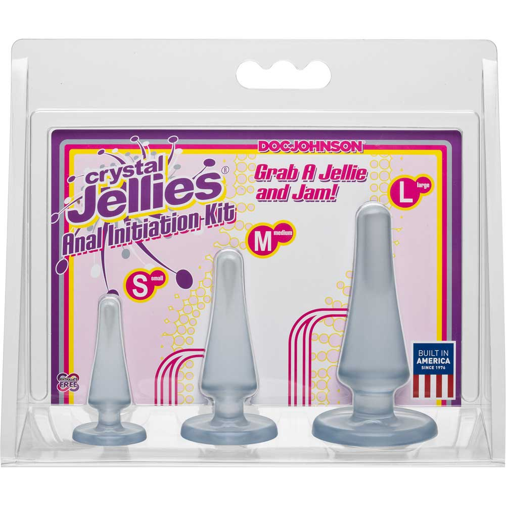 Doc Johnson Crystal Jellies Anal Initiation Kit with 3 Butt Plugs Clear - View #1