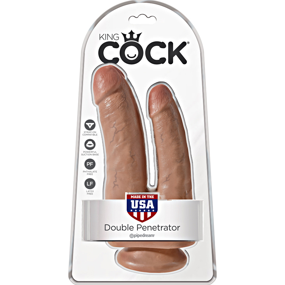 """King Cock Double Penetrator Dildo with Suction Mount Base 8"""" Tan - View #1"""