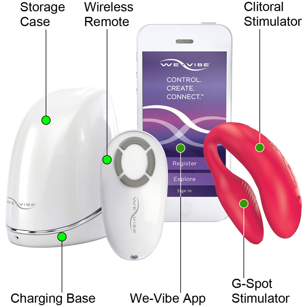 We-Vibe 4 PLUS Wireless Silicone G-Spot USB Vibrator for Both Red - View #1